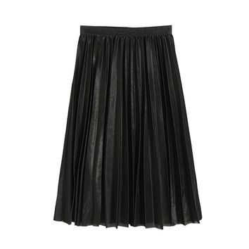 Spring Summer Women Girls Fashion Skirts Lady's Metallic Silver Skirt Midi Skirt Casual High Waist Metallic Pleated Skirt