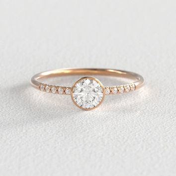 Rose Gold Moissanite Engagement Ring with Hand Pavé Canadian Diamond Band set in 14k Recycled Rose Gold
