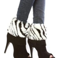 Fur Boot Cuffs Zebra Boot Toppers