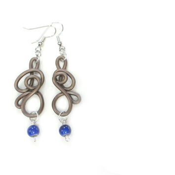 Cobalt Taupe Wire Earrings Unique Modern Blue Brown Jewelry
