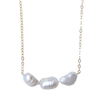 Emma Triple Pearl Drop Necklace