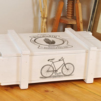 White vintage design end table | flat coffee table | retro end table | cargo crate | rustic entryway box | bike print | shabby chic | biking
