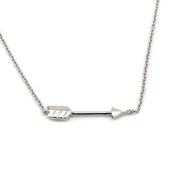 """Solid Sterling Silver Sideways Arrow 16"""" - 18"""" Necklace - the same from both sides"""
