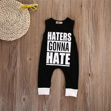 New 2016 Cute Baby Boy Romper Sleeveless Cotton Jumpsuit Baby Cartoon Letter Printed Rompers Newborn Baby Boy Girl Clothes