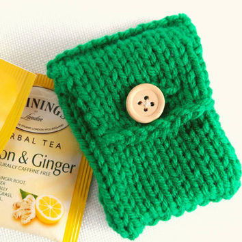 Tea Bag Storage – Tea Storage – Tea Gifts for Tea Lovers – Tea Party Favors – Tiny Knit Pouch – Tea Bag Tote – Tea Bag Organizer - Tea Tote