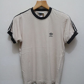 Vintage ADIDAS Trefoil Tee T Shirt Light Brown Size M
