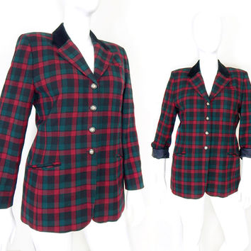 Vintage 80s Pendleton Red Plaid Wool Blazer - Size 14 - Women's Preppy Red and Green Velvet Collar 4 Button Fitted Jacket - Large