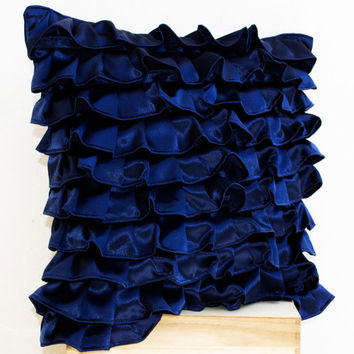 Navy Blue Satin Ruffle Pillow - Decorative pillow - Dark Blue Ruffle throw pillow - Ruffle throw - 18x18 - Sofa pillow - gift - Couch Pillo