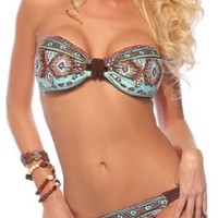 Womens Two Piece Padded Ruched Halter Bandeau Low Rise Cheeky Bikini Swimsuit