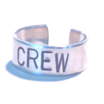 rowing crew ring, large sizes 8-10 adjustable crew ring, handstamped rowing ring, rowing jewelry, gift for rower, unisex crew ring