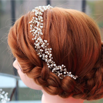 Wedding headband, Pearl Bridal headband, Pearl headband, Bridal headband, Bridal halo, Pearl hair vine, Bridal hair accessories, Tiara