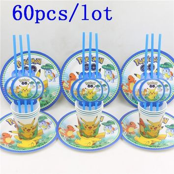 60pcs\lot Pikachu Cartoon Baby Shower Decoration Birthday Party Straws  Go Paper Cups Kids Favors Plates Happy SuppliesKawaii Pokemon go  AT_89_9