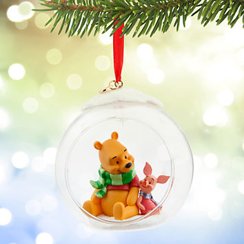 Winnie the Pooh and Piglet Glass Globe Sketchbook Ornament