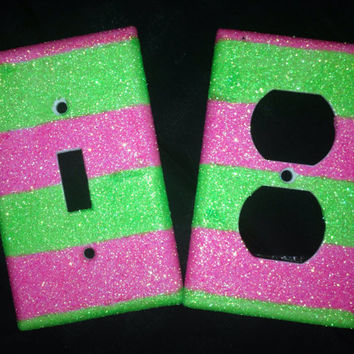 Glittered Hot Pink & Lime Outlet and Light by MelaniesGlittermania