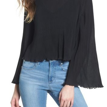 Leith | Pleated Bell Sleeve Top | Nordstrom Rack