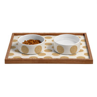 Allyson Johnson Gold Dots Pet Bowl and Tray