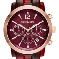 Women's MICHAEL Michael Kors 'Audrina' Chronograph Bracelet Watch, 42mm - Merlot Tortoise/ Gold