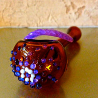 ONE OF A KIND Native Medicine Purple Galaxy Peyote Feather Spoon Pipe