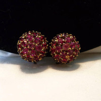 Austria Pink & Red Swarovski Crystal Glass Rhinestone Domed Brass Button Clip On Earrings
