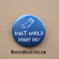 Harry Potter Dobby Blue Elf Sock Button - Pinback Button Badge