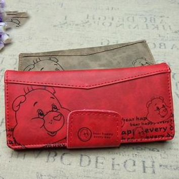 ximier New cartoon long style purse lady girl wallet pig designer key wallet leather women wallet Purse candy color g