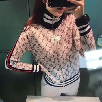 """Gucci"" Women Casual Fashion Multicolor Stripe GG Letter Zip Cardigan Long Sleeve Turtleneck Sweatshirt Coat"