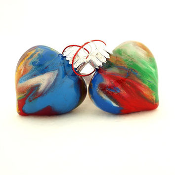 Handmade Heart Christmas Tree Glass Ornaments Hand Painted on the Inside - Multi Rainbow Color