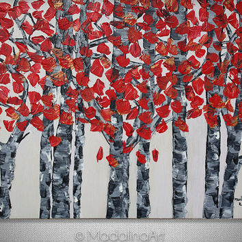"Original Painting, Palette Knife, Painting Oil on Canvas Contemporary Modern Art ""Birch Trees 20X28"