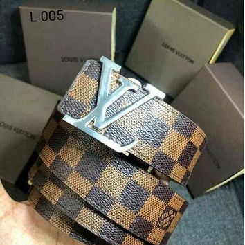LV classic tide brand wild simple men and women smooth buckle belt Coffee Check
