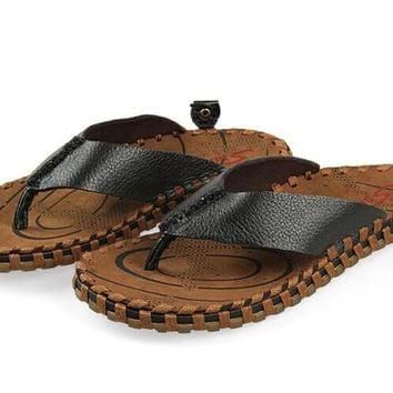 fashion handwork mens genuine cow leather flip flops woven straw bottom slippers straw sole beach sandals for man size
