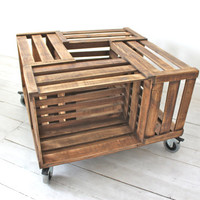 Apple Crate Coffee Table on 360 Swivel Rubber Castors with Brakes