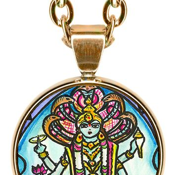 "Lord Vishnu for Strength, Protection, Grace 5/8"" Mini Stainless Steel Pendant with Chain"
