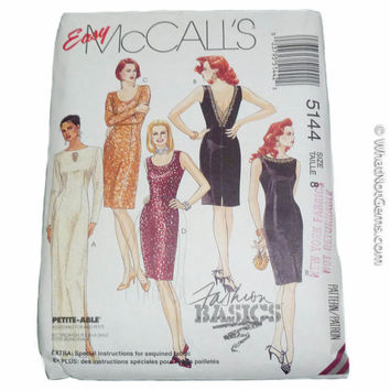 McCalls 5144 Dress in Two Lengths Size 8 Easy Fashion Basics Pattern Bust 31.5