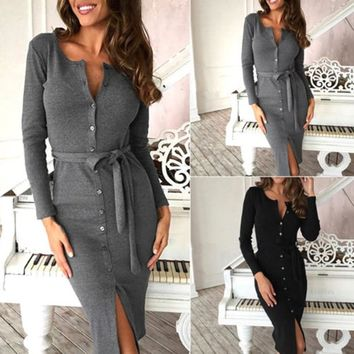 New Autumn Winter Dress Women Slim Long Sleeve Buttons Casual Bodycon Cocktail Knee-Length Dress Female Dresses Vestidos