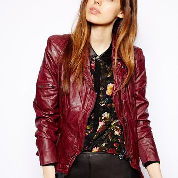 Muubaa Lyra Fitted Leather Biker Jacket