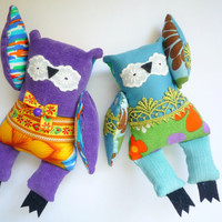 Owl Mystery Bag Grab Bag ,2  little owls, soft art toy by Wassupbrothers