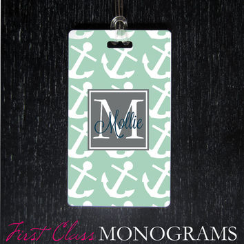 Nautical Mint Green Anchors Monogram Luggage Tag, Baggage Tag for diaper bag, golf bag, backpack. preppy letter Personalized Gifts LTM-143
