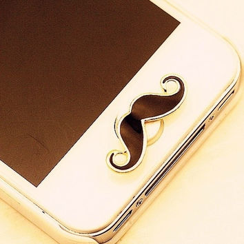 Cute Moustache Home Button Sticker for iPhone 4 4s 5 5s = 1651260996