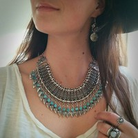 Turquoise & Silver Turkish Statement Necklace