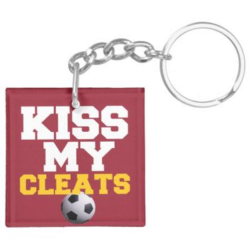 Kiss my Soccer Cleats Gifts Double-Sided Square Acrylic Keychain