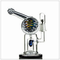 Heady Pipes Pure Blue Color Glass Water Bong With Recycler Vapor Chamber Ball Oil Rigs 14.5mm Titanium Nail HD02