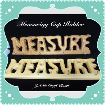 Unique One of a Kind Wooden Measuring Cup Holder-Vintage-Handmade-One Stained-One Natural-Home Decor-Kitchen Decor-Country Decor-Gift-