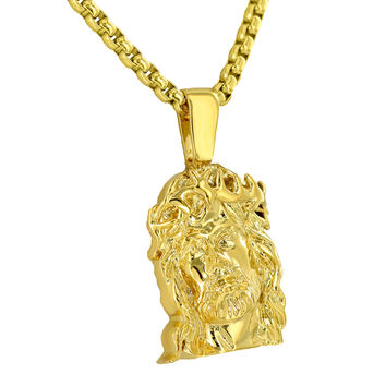 Mens Jesus Face Pendant 18K Yellow Gold Plate Box Necklace Charm