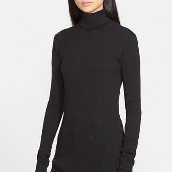 Women's Helmut Lang Cotton & Angora Rib Knit Turtleneck Sweater,