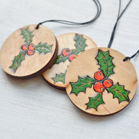 Woodburned and Hand-painted Chrstmas Ornament - Wooden Mistletoe Ornament set of 3 - Rustic Pyrography Christmas Decor - Red and Green