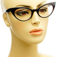 Curvy Tip Pointed Frames Clear Lens Retro Vintage Style Cat Eye Glasses Tortoise