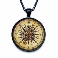 Vintage compass pendant ART PRINT Steampunk compass necklace Steampunk compass jewelry for men for her