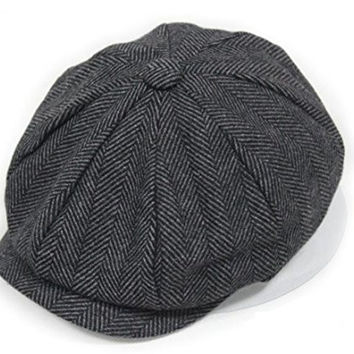 Pipi Cool Women Men Tweed Newsboy Beret Peaked Cap Cabbie Hat Stretch