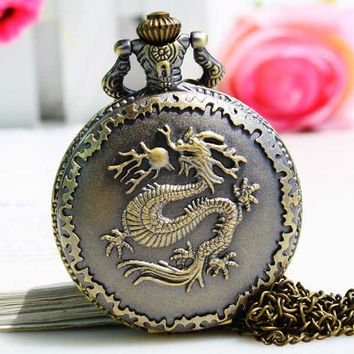 1PC Antique Bronze Pocket Watch Necklace Chain Pendant Long !ONS = 4482743940