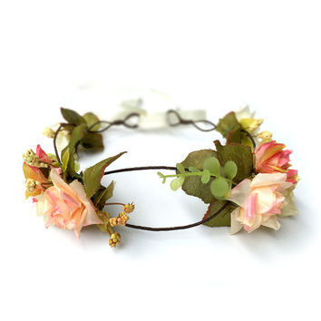 Rustic Blush Floral Crown Headband, Boho Wedding, Blush Bridal Headpiece, Floral Crown, Wedding Hairpiece, Flower Hair Accessories, Pink